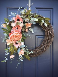 Spring Wreaths Spring Door Decor Spring Decorating Door Wreaths Coral Coral Colors Spring Decor Gift for Her Mother's Day Gift by WreathsByRebeccaB on Etsy Front Door Decor, Wreaths For Front Door, Front Porch, Teal Front Doors, House Front, Summer Wreath, Spring Wreaths, Seasonal Decor, Holiday Decor