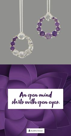 This modern geometric piece contains vivid, high-quality Amethyst and Clear Quartz stones. Amethyst represents tranquility and spiritual growth, while Clear Quartz helps with healing and clarity. Quartz Crystal Necklace, Clear Quartz Crystal, Amethyst Quartz, Amethyst Gemstone, Healing Gemstones, Geometric Circle, Circle Pendant Necklace, Quartz Stone, Spiritual Growth