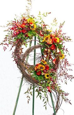 Double wreath Sympathy Wreath for fall. Grave Flowers, Cemetery Flowers, Funeral Flowers, Remembrance Flowers, Memorial Flowers, Funeral Floral Arrangements, Funeral Sprays, Corona Floral, Sympathy Flowers