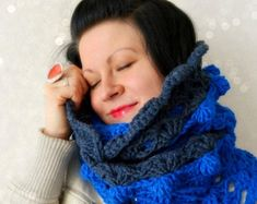 Royal Blue scarf Circle Infinity scarf, Chunky Crochet lace scarf, neck warmer, knitted wrap snood tube winter scarf, bulky ball necklace