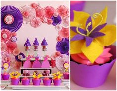 Look at those flowers...love it. Tangled Inspired Party with Lots of Super Cute Ideas via Kara's Party Ideas KarasPartyIdeas.com: