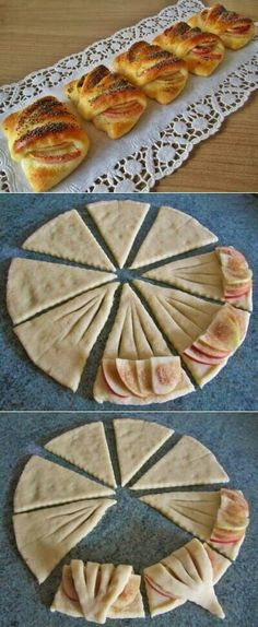 A puff pastry, apples, sugar and some cinnamon. Place the pieces on a baking sheet and . A puff pastry, apples, sugar and some cinnamon. Place the pieces on a baking sheet and . Bread Shaping, Yummy Food, Tasty, Snacks, Creative Food, Finger Foods, Food Inspiration, Sweet Recipes, Dessert Recipes