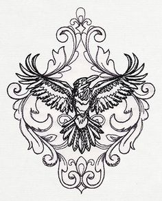 A darkly beautiful raven puts a unique twist on classic toile styling. Stitch one alone, or stagger and repeat!