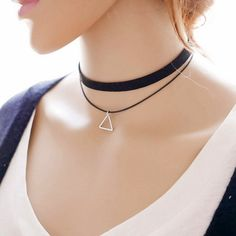 Vintage Bohemia Black Leather Choker Charm Necklace Gothic Goth Collar Jewelry