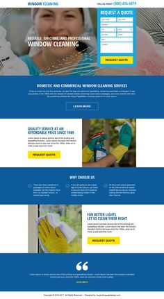 window cleaning services responsive landing page design