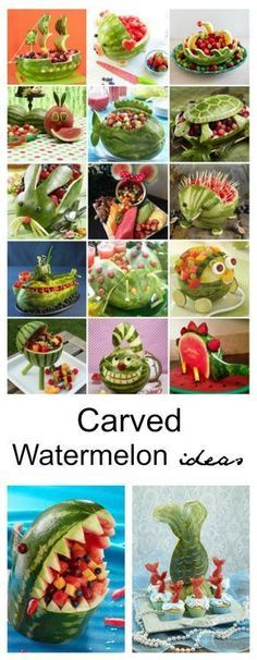 Carved Watermelon Ideas - Carved Watermelon Ideas Melon season is in full swing! Why not make the most of it by having a little fun with fruit! Try these Carved Watermelon Ideas for your next summer party. Watermelon Art, Watermelon Carving, Carved Watermelon, Watermelon Recipes, Watermelon Animals, Fruit Animals, Deco Fruit, Fruits Decoration, Deco Buffet