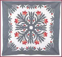 Love the modern coloration in this Hawaiian quilt.