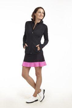 Mrs Golf - Ladies Golf Apparel, Shoes, Accessories - Golftini Tiki GT Pull On Tech Skort in Black/Hot Pink