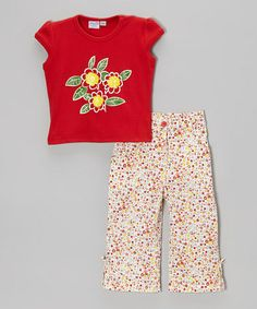 Loving this Red & Yellow Floral Tee & Pants - Toddler & Girls on #zulily! #zulilyfinds