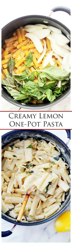 {Italy} Creamy Lemon One-Pot Pasta | www.diethood.com | The delicious combination of lemon and cream cheese is spot-on for this easy weeknight one-pot pasta dinner. | #pasta #one_pot