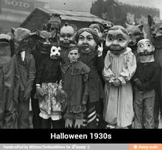 Halloween 1930s. WAY more scarier than anything we have today! OMG!!!! Look at those costumes! LOL!