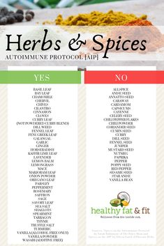 "diet This list will provide you with an easy visual that shows exactly what herbs and spices are a ""yes"" during the elimination phase of AIP OR a ""no"". Dieta Aip, Health Blog, Health Tips, Health Benefits, Autoimmun Paleo, Paleo Food, Raw Food, Whole Foods Market, Autogenic Training"