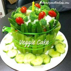 Perfect for this summer's veggie lovers. Veggie Cake (Great Twist on the Typical Veggie Platter)