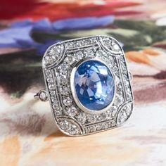 Ravishing 6.65ct Blue Sapphire & 1.90cts Old Cut Diamond Ring Platinum