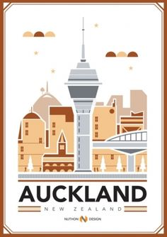 Retro style Auckland illustration - features Sky Tower. New Zealand poster