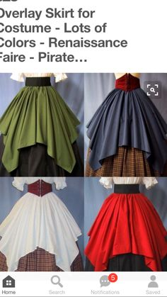 Overlay Skirt for Costume - Lots of Colors - Renaissance Faire - Pirate Wench - Handmade literally a square Renaissance Skirt, Renaissance Fair Costume, Medieval Costume, Renaissance Clothing, Medieval Dress, Corsets, Cosplay Costumes, Wench Costume, Pirate Costumes