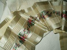 Silk Satin Vintage Victorian Edwardian Ribbon Floral Center Stripe Edge