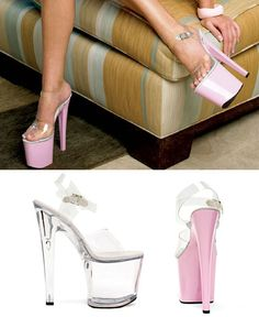 821-Brook Ellie Shoes, 8 inch Pointed Stiletto high heels Ankle Strap Platforms Stripper Shoes