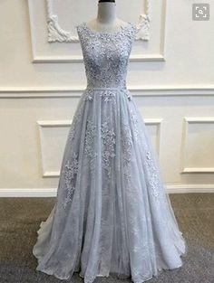 Gray Evening Dress,Lace Applique Prom Dress,Charming prom dress,long prom dress,New arrive evening gown, BD2601