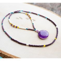 Long Boho Necklace For Women Amethyst Pendant Elastic Multi Use... ❤ liked on Polyvore featuring jewelry, necklaces, long boho necklace, purple bead necklace, long pendant necklace, amethyst pendant necklace and long beaded necklace
