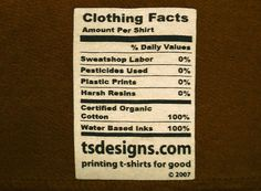 Here's a label I'd like to see on EVERY SHIRT!  T.S. Designs, INHABITAT T-Shirt Design Competition, Eco-friendly TShirt printing, Green design, #EcoDesign, #Sustainable Design, green fabric printing, water based screen printing