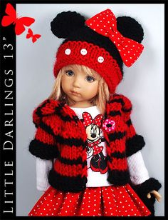 """** MINNIE MOUSE ** Outfit for Little Darlings Effner 13"""" by Maggie & Kate Create"""