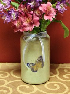 Hand Stamped Blue Butterflies Paper Design Glass Vase by KjgBoutique on Etsy