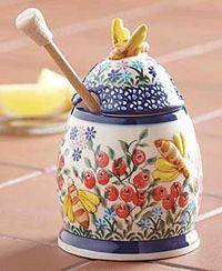 Polish Pottery Honey Pot