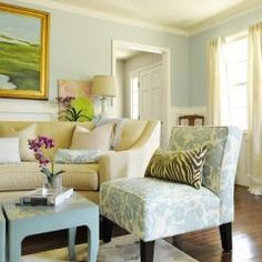 Pretty!!; traditional living room by Julia Ryan