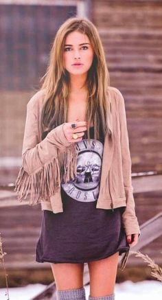 Fringe - long band tee/gress - knit thigh high stocking. .. combat boots
