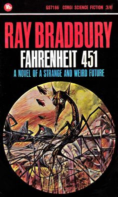 JOSH KIRBY (British, Fahrenheit book cover, 1965 Watercolor and gouache on paper laid on board x 9 - Available at 2014 October 17 - The Colour Of Magic, Fahrenheit 451, Sci Fi Books, Sci Fi Art, Nonfiction, Book Lovers, Science Fiction, Literature, Fiction Novels
