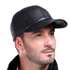 Baseball Cap Genuine Sheepskin Adjustable Unisex Leather Baseball Hats -  Black - CA12O4RT5RS - Hats  amp. Leather CapMens ... 7a90103a069c