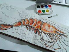 shrimp #draw #sketchbook #ilustration #gouache