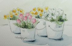 Flower Market Original Watercolor Painting by RoseAnnHayes on Etsy