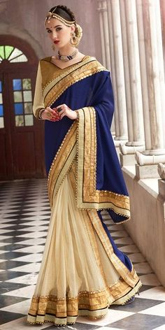 Shiny Navy Blue And Off-White Chiffon Saree With Blouse.