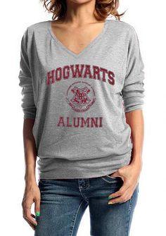 Hogwarts Alumni Geek Long Sleeves V-neck Grey T-shirt Womens Girls Ladies T shirt. $26.99, via Etsy.