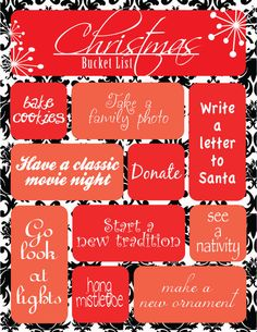 Christmas Bucket List. I'd like to make one of my own