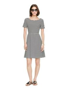 featuring a simple silhouette that's a little bit sexy--check out that open twist back!--this striped cotton dress is just the thing for summer saturdays; you'll be in style from brunch to cocktails, and beyond.