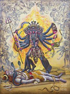 Medium: acrylic on canvas Size: cm Status: Sold Description: Kali is Goddess is one of 10 Mahavidyas. Kali is a destroyer of evil forces. She is als. Kali Hindu, Hindu Art, Mother Kali, Divine Mother, Kali Tattoo, Kali Mata, Kali Goddess, Goddess Art, Shiva Art