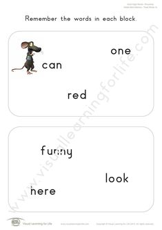 """In the """"Added Word Memory"""" worksheets, the student must remember all the words on the first page so that they can identify the word that has been added on the second page from memory. Learning For Life, Visual Learning, Visual Memory, Three Words, First Page, Sight Words, Comprehension, Worksheets, Teacher"""