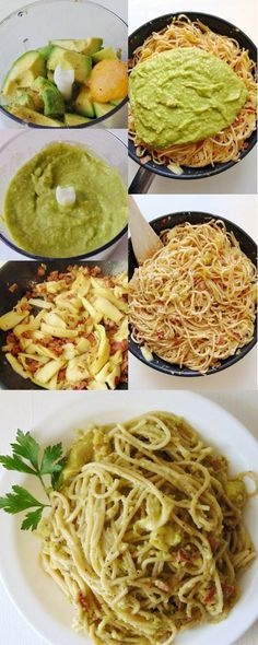 Carbonara con aguacate y calabacín - Nudeln Rezepte Aufläufe Sossen - Healthy Pasta Recipes, Veggie Recipes, Mexican Food Recipes, Real Food Recipes, Vegetarian Recipes, Cooking Recipes, Yummy Food, Spaghetti, Food Porn