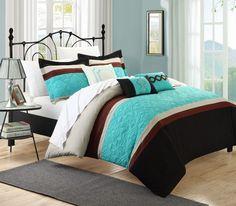 Corrine 10-Piece Bedding Embroidered Comforter Set Blue