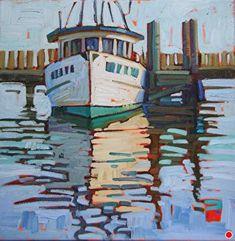 Rene Wiley Gallery - Portfolio of Works: Rene Wiley Original Paintings Landscape Art, Landscape Paintings, Boat Art, Boat Painting, Water Art, Nautical Art, Coastal Art, Gouache, Artist Art