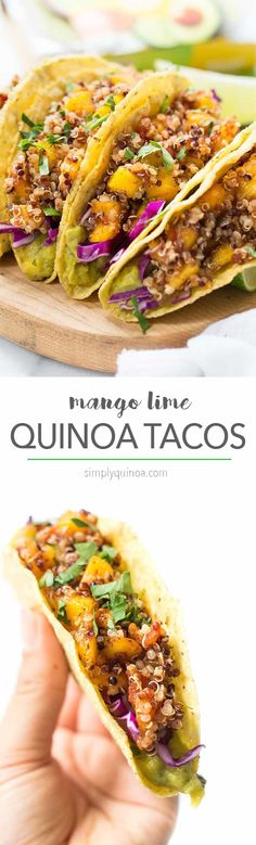 10-MINUTE QUINOA TACOS with a spicy mango-lime filling, red cabbage and creamy guacamole dip on the bottom! [vegan + gluten-free] Mexican Food Recipes, Whole Food Recipes, Vegetarian Recipes, Cooking Recipes, Healthy Recipes, Mango Recipes Vegan, Dip Recipes, Quinoa Tacos, Lime Quinoa