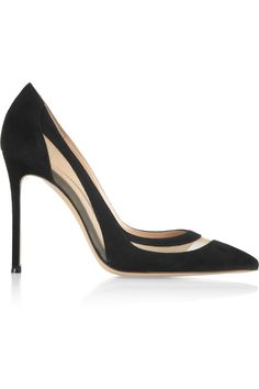 Gianvito Rossi - Mesh-paneled suede pumps from NET-A-PORTER. Saved to shoes > you. Dream Shoes, Crazy Shoes, Me Too Shoes, Air Max 97, Nike Air Max, Spring Shoes, Summer Shoes, Closed Toe Shoes, Black Suede Pumps