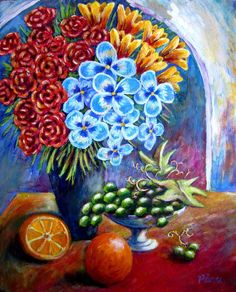 Flowers And Fruit by Sebastian Pierre