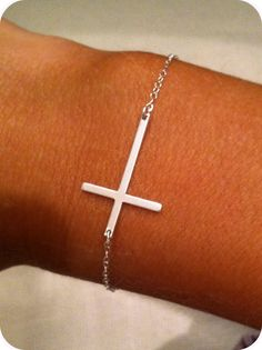 Silver Sideway Cross Bracelet - have the necklace and bracelet in gold and i love them