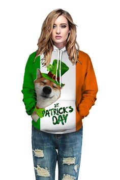 White hoodie with Irish holiday print wild hooded sweatshirt – menlivestyle Printed Hoodies, Hooded Sweater, White Hoodie, Cargo Pants, Hooded Sweatshirts, Christmas Sweaters, Hoods, Irish, Holiday