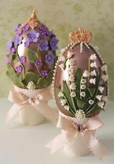 Haute Couture Easter Eggs. Lily-of-the-Valley Chocolate Easter Egg and Violet Chocolate Easter Egg, from our Easter collection 2010, all made in Belgian chocolate, inspired by legendary Fabergé Eggs.