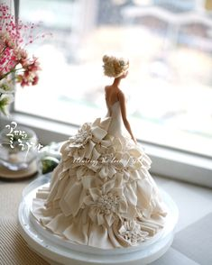 With the addition of a couple of butterflies Barbie Torte, Bolo Barbie, Wedding Dress Cake, Wedding Cakes, Dolly Varden Cake, Cupcake Cakes, Cupcakes, Fruit Cakes, Zoes Fancy Cakes